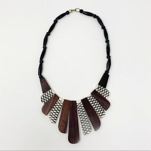 VINTAGE Handmade Wood & Ivory Tribal Necklace